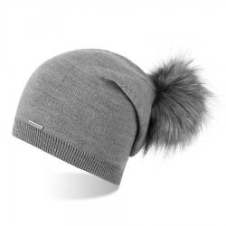 Jesienna czapka smerfetka z pomponem brodrene cz19 jasnoszara