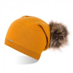 Damska czapka zimowa smerfetka z pomponem brodrene cz19 miodowa