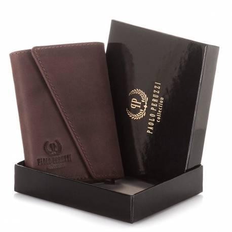 Mały brązowy portfel na karty paolo peruzzi