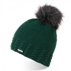 Elegancka zimowa czapka damska brodrene cz23 butelkowa zieleń
