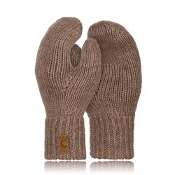 Rękawiczki damskie zimowe jednopalczaste brodrene r02 kawa z mlekiem