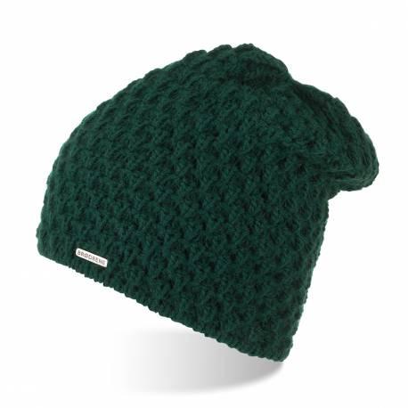 Designerska czapka damska zimowa brodrene z polarem cz25 butelkowa zieleń