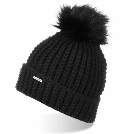Damska czapka z pomponem zimowa polar brodrene cz21czarna