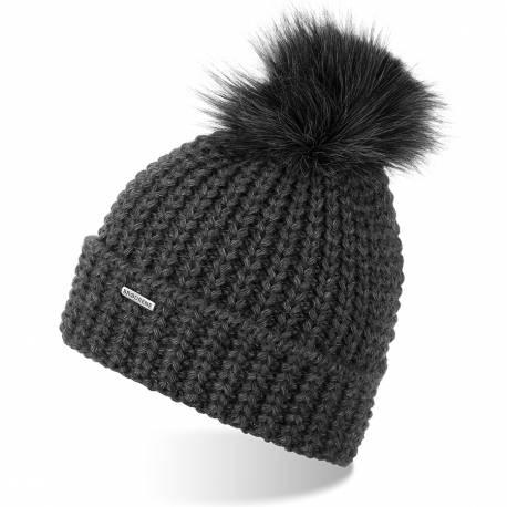 Damska czapka zimowa z pomponem brodrene cz21 ciemnoszara