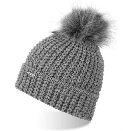 Zimowa czapka damska z polarem brodrene cz21 jasnoszara
