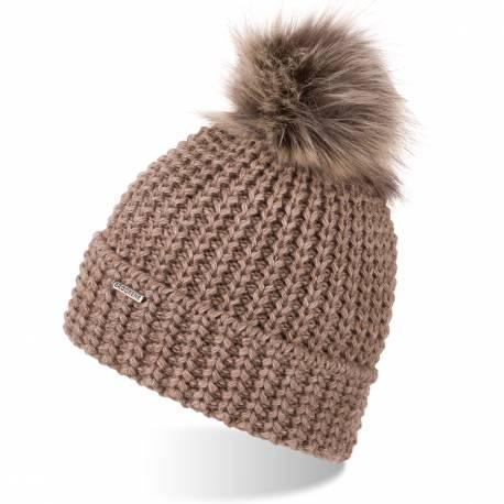 Gruba czapka zimowa z polarowym podszyciem brodrene cz21 kawa z mlekiem