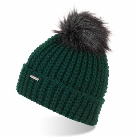 Gruba czapka zimowa z pomponem brodrene cz21 butelkowa zieleń