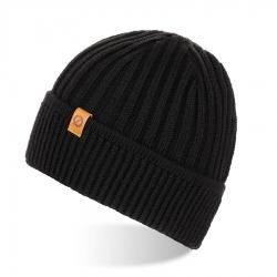 Męska czapka zimowa z wywinięciem brodrene cz12 czarna