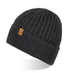 Ciepła czapka zimowa z wywinięciem brodrene cz12 ciemnoszara