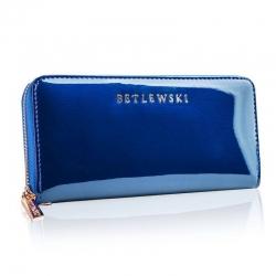 Duży damski portfel ze skóry niebieski betlewski