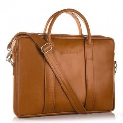 Stylowa brązowa torba skórzana na laptopa betlewski