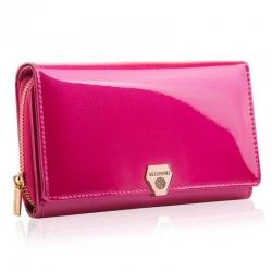 Elegancki różowy portfel damski ze skóry naturalnej