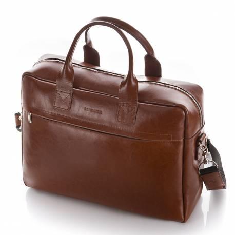 Duża skórzana torba na laptop brodrene bl03xl jasny brąz