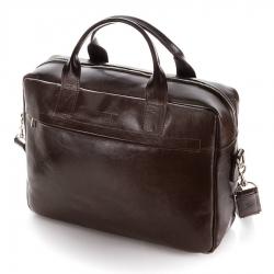 Duża skórzana torba na laptop brodrene bl03xl ciemny brąz