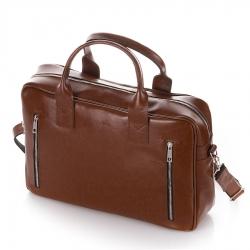 Skórzana torba na ramię na laptop brodrene r02 jasny brąz