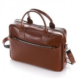 Skórzana torba na ramię męska na laptop brodrene r12 jasny brąz