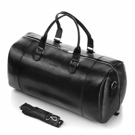 Skórzana torba podróżna męska torba na ramię brodrene r30 czarna
