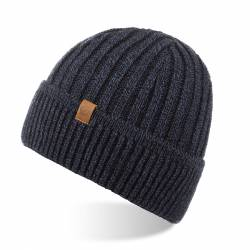 Stylowa czapka zimowa męska czapka beanie brodrene cz12 granatowa