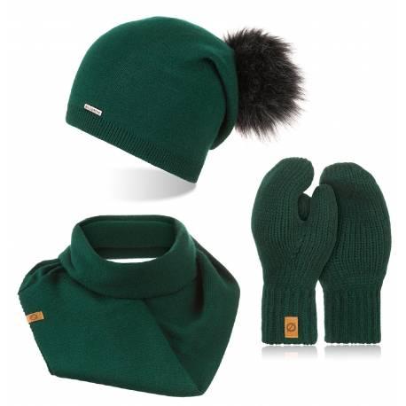Zimowy komplet damski 3w1 czapka z pomponem komin i rękawiczki