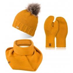 Komplet zimowy damska czapka z kominem i rękawiczkami 3w1