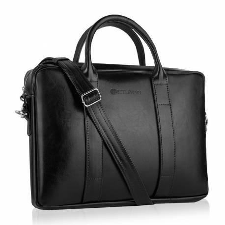 Skórzana torba na ramię laptop betlewski btm-01 czarna