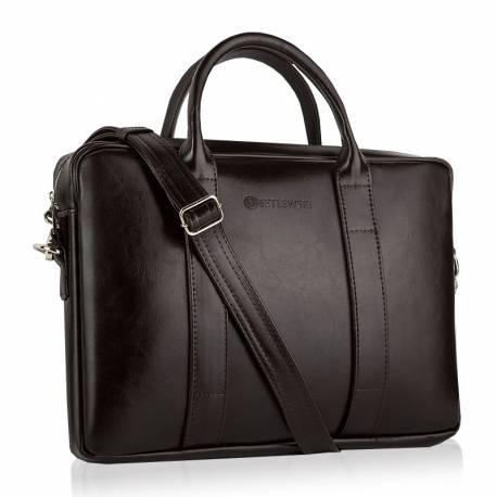 Skórzana torba na ramię laptop betlewski btm-01 brązowa