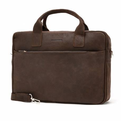 Skórzana torba na laptopa na ramię brodrene bl12 ciemny brąz