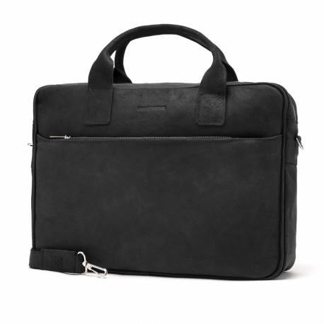 Skórzana torba casual męska na laptop brodrene bl12 czarna