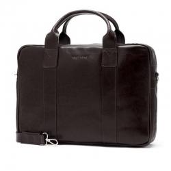 Męska torba na ramię ze skóry naturalnej na laptop brodrene r01 ciemny brąz