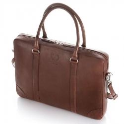 Elegancka męska skórzana torba na laptop 15,6 brązowa