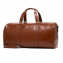Skórzana torba podróżna na ramię brodrene bl20 koniack smooth leather