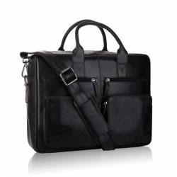 Skórzana torba męska na laptopa czarna