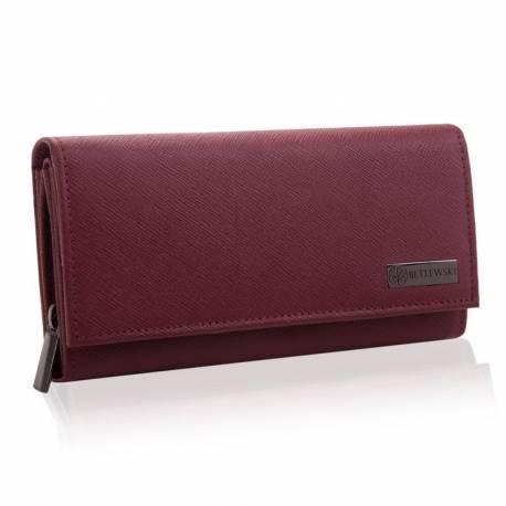 Duży czerwony portfel damski betlewski rfid