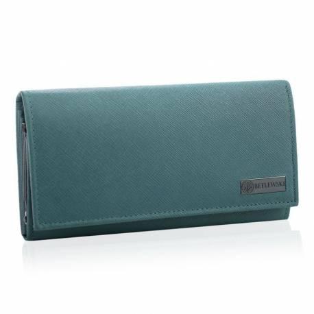 Duży niebieski portfel damski skórzany betlewski rfid