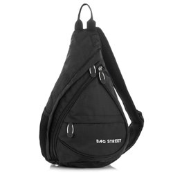 Modny czarny plecak sportowy na jedno ramię bag street