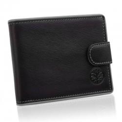 Skórzany portfel męski betlewski z szarą oblamówką