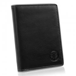 Skórzany portfel męski betlewski z szarą oblamówką rfid