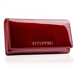 Skórzany portfel betlewski czerwony rfid