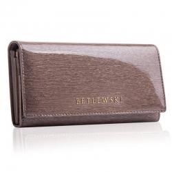Skórzany portfel damski betlewski duży szary rfid