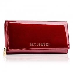 Duży skórzany portfel betlewski czerwony