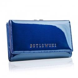 Skórzany portfel damski betlewski niebieski rfid