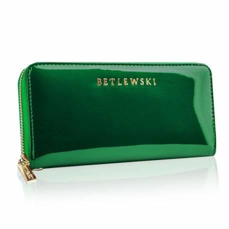 Skórzany zielony portfel damski betlewski duży rfid
