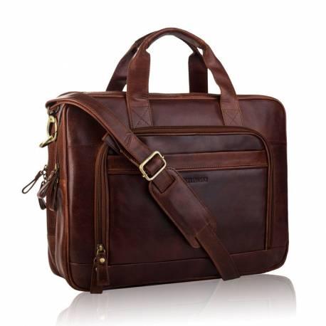 Duża brązowa torba męska do pracy na laptopa