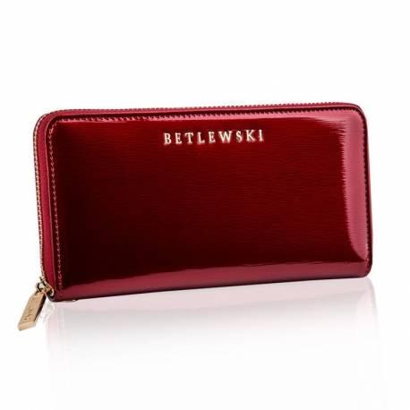 Czerwony portfel skórzany betlewski rfid duży