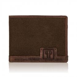 Męski brązowy portfel skórzany canvas rfid