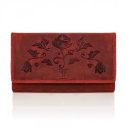 Skórzany czerwony portfel damski rfid t-05 paolo peruzzi