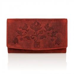 Czerwony skórzany portfel damski rfid paolo peruzzi