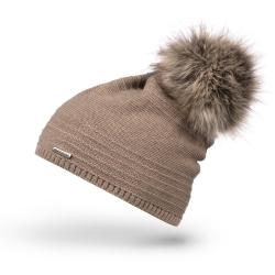 Beżowa stylowa czapka damska z pomponem na zimę