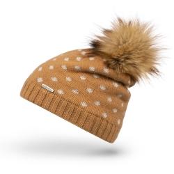 Modna czapka damska z ociepleniem i pomponem