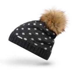 Modna szara czapka zimowa cz29 brodrene z ociepleniem
